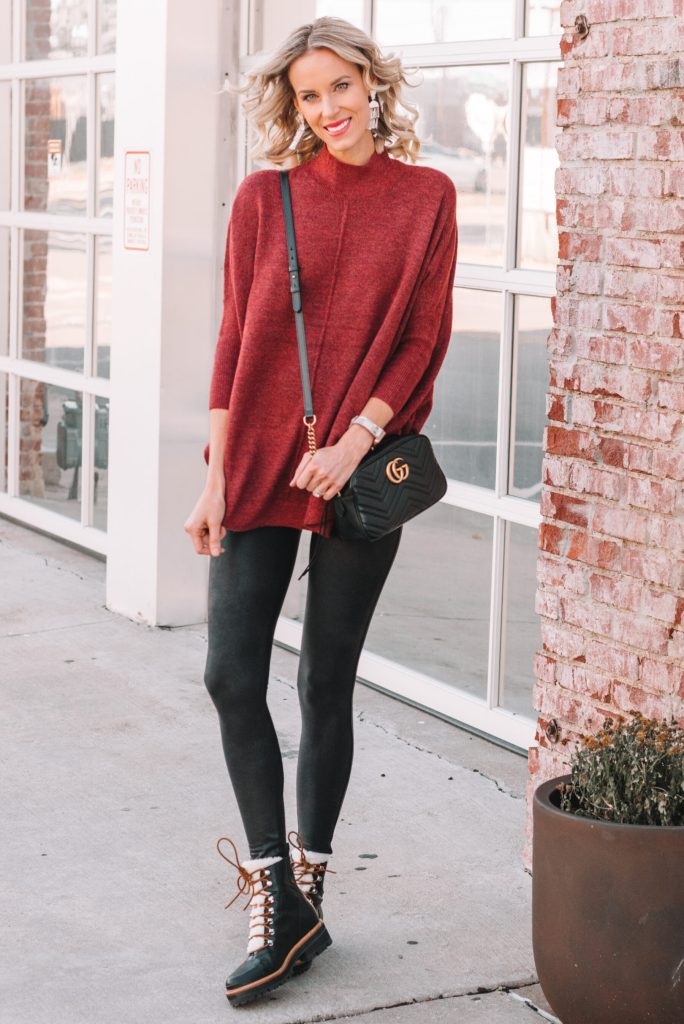 how to wear faux leather leggings, poncho, long sweater