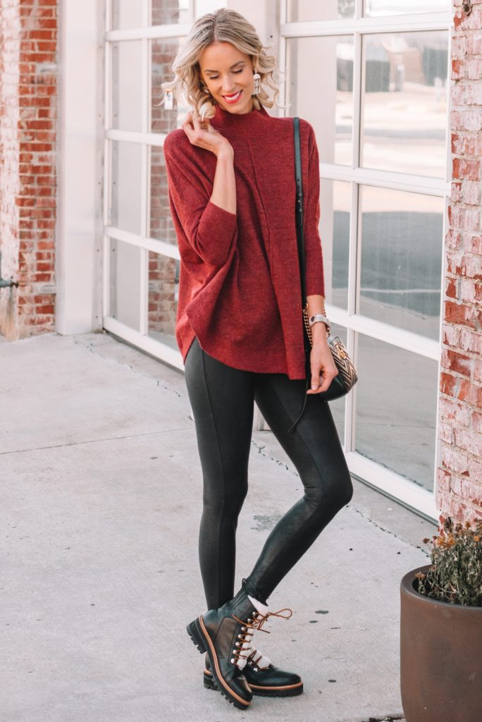faux leather leggings, how to wear Spanx leather leggings