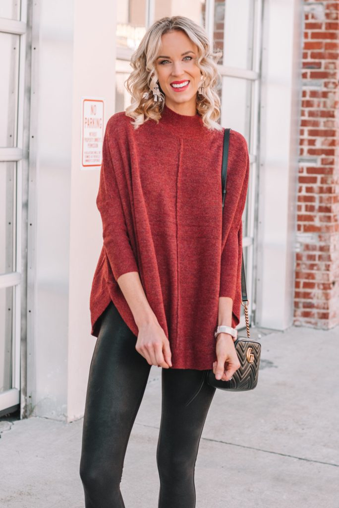 rust colored sweater poncho