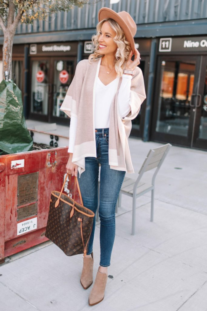 Neutral Poncho Wrap Styled 4 Ways, cozy fall outfit, poncho and booties