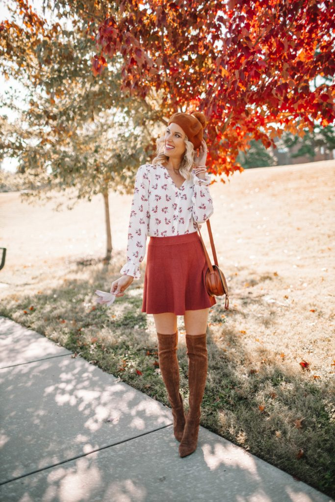 4 ways to wear over the knee boots, blog post about how to wear over the knee boots, over the knee boots with a skirt