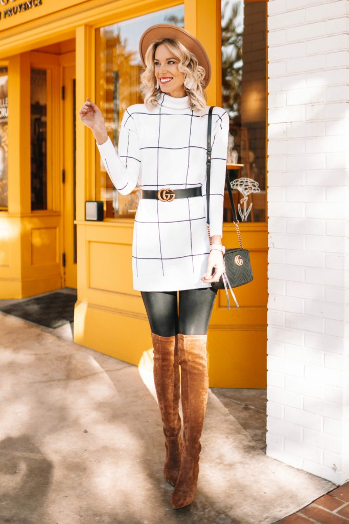 4 ways to wear over the knee boots, how to wear over the knee boots, over the knee boots with leggings, winter outfits with over the knee boots