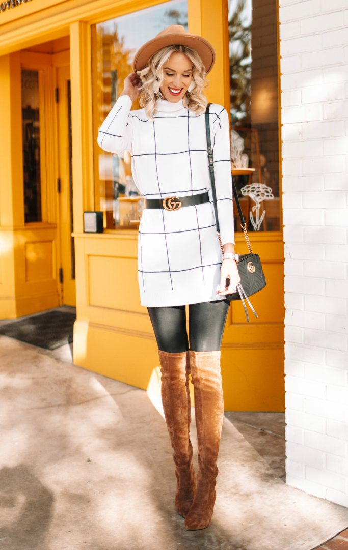 tunic sweater, leather leggings, over the knee boots, how to wear over the knee boots