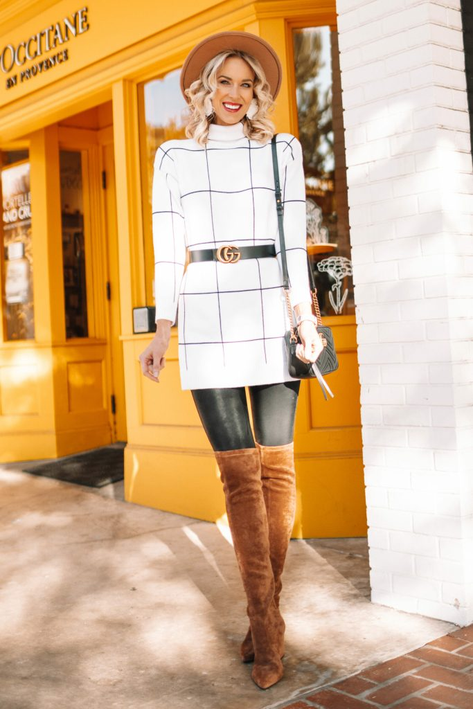 4 ways to wear over the knee boots, how to wear over the knee boots, over the knee boots with black leggings and a sweater