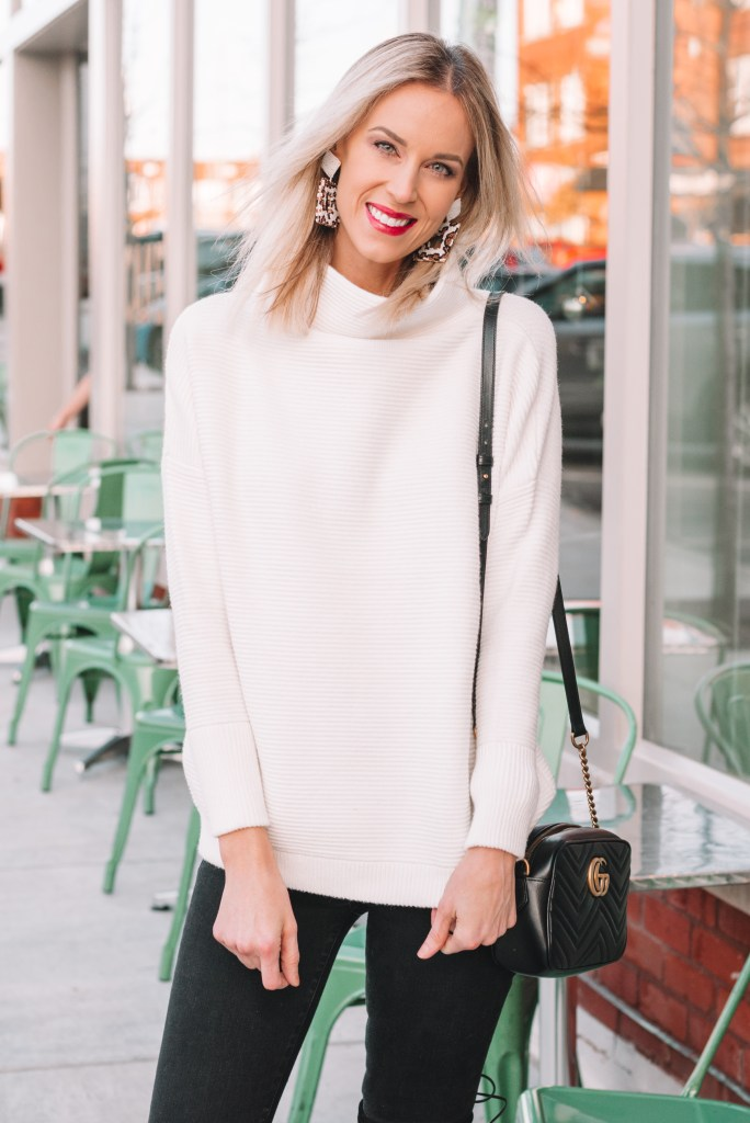 Free People tunic sweater dupe, white sweater, turtleneck sweater, tunic sweater