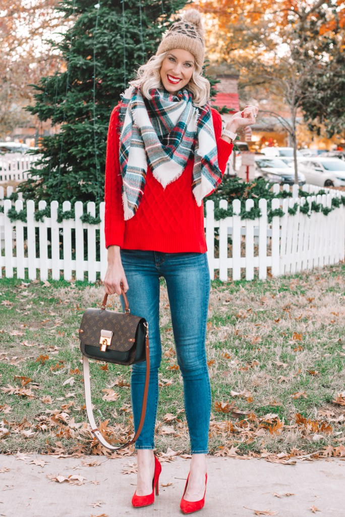 how to wear a red sweater, red sweater outfit ideas, blanket scarf
