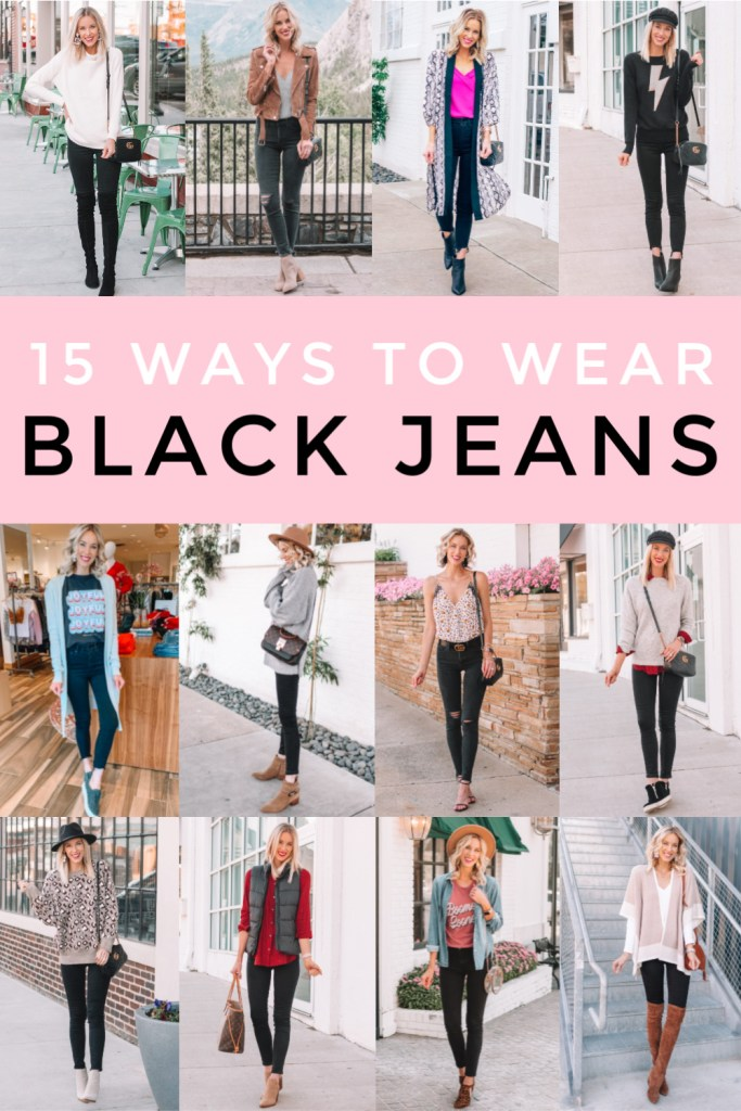 15 ways to wear black jeans, black jean outfit ideas, how to wear black jeans, blog post with outfit ideas for black jeans #blackjeans