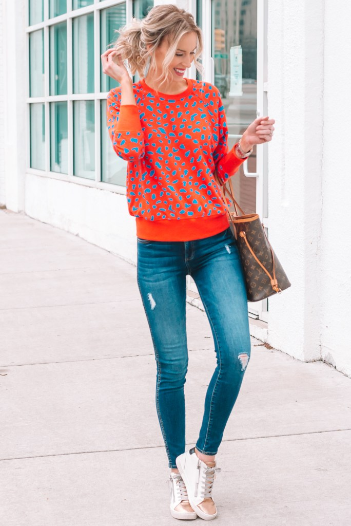 cutest colored sweatshirt, casual outfit idea, fashion sneakers