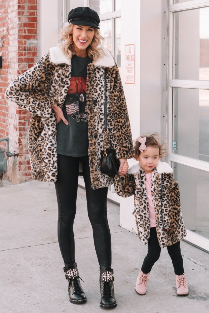 matching mom and daughter faux fur leopard coats and legging outfits