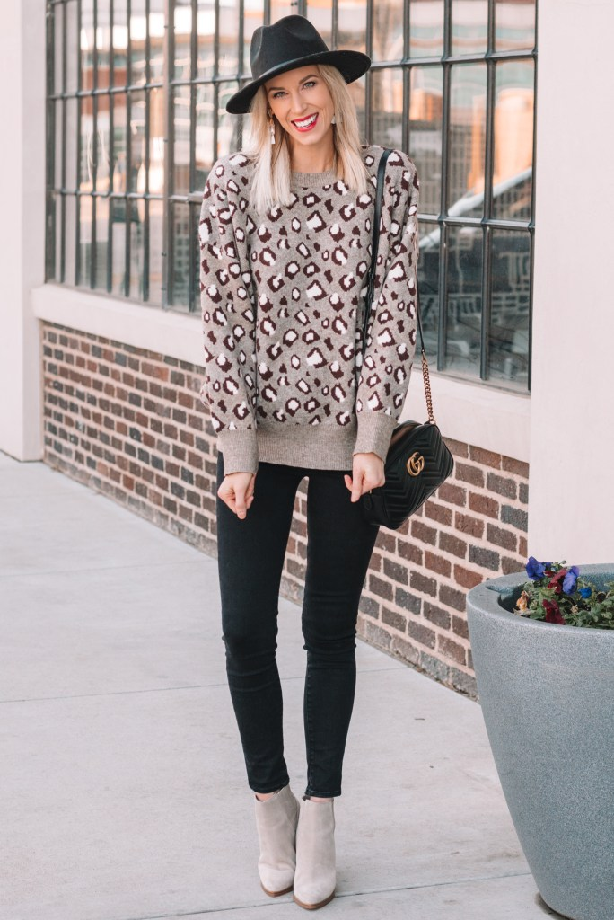 how to style a leopard sweater, black jeans, taupe ankle boots
