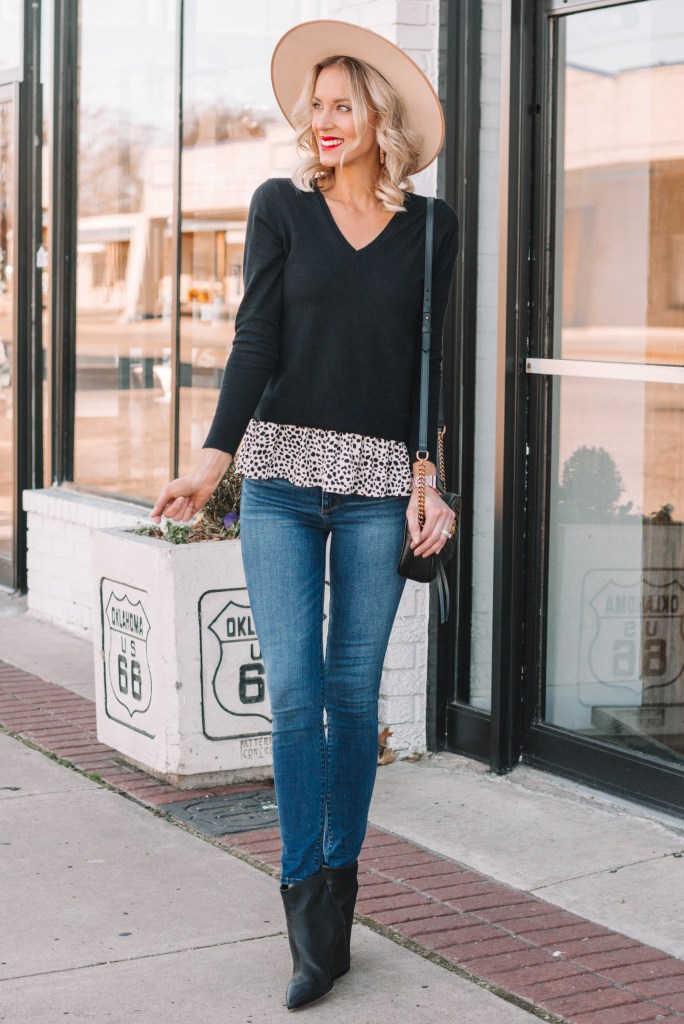 jeans and boots outfit, peplum blouse