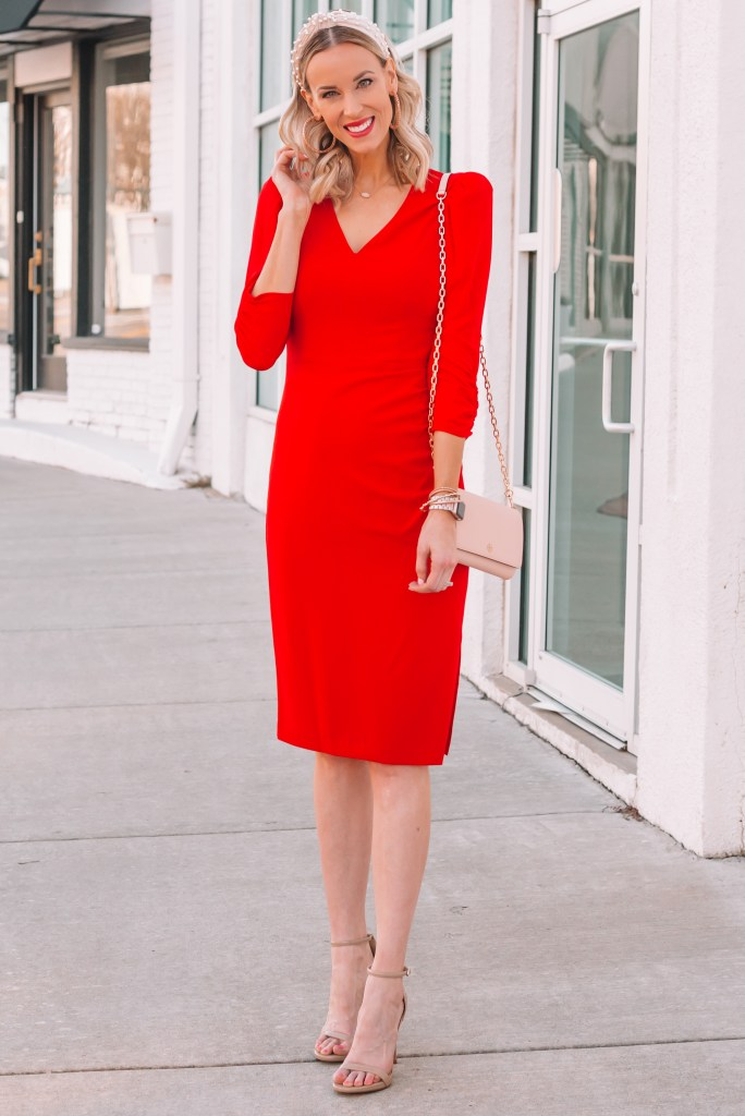 ultra flattering red dress with v-neck and ruching
