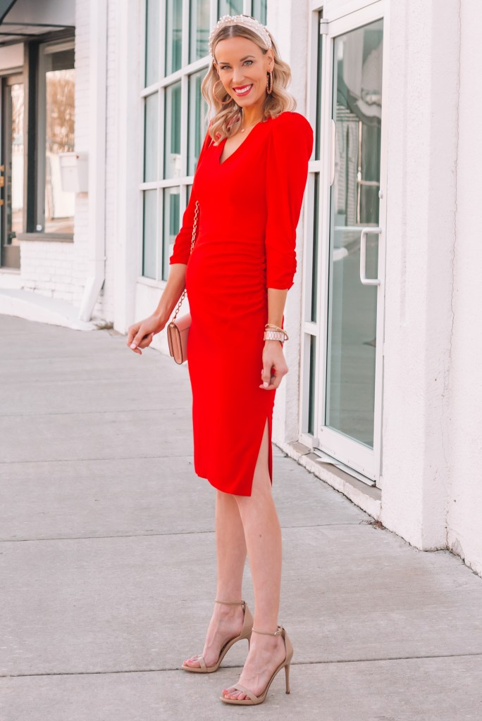 ultra flattering red dress for Valentine's Day