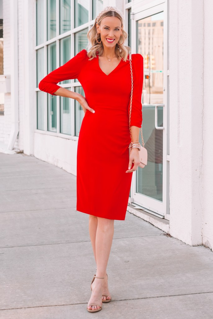red dress with pearl headband, dressy Valentine's Day outfit