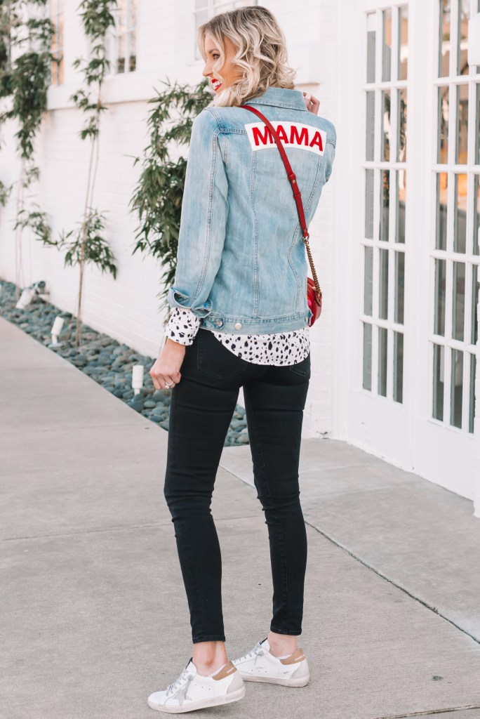 mama jean jacket, embroidered mama jean jacket, black jeans, red purse, Golden Goose sneakers