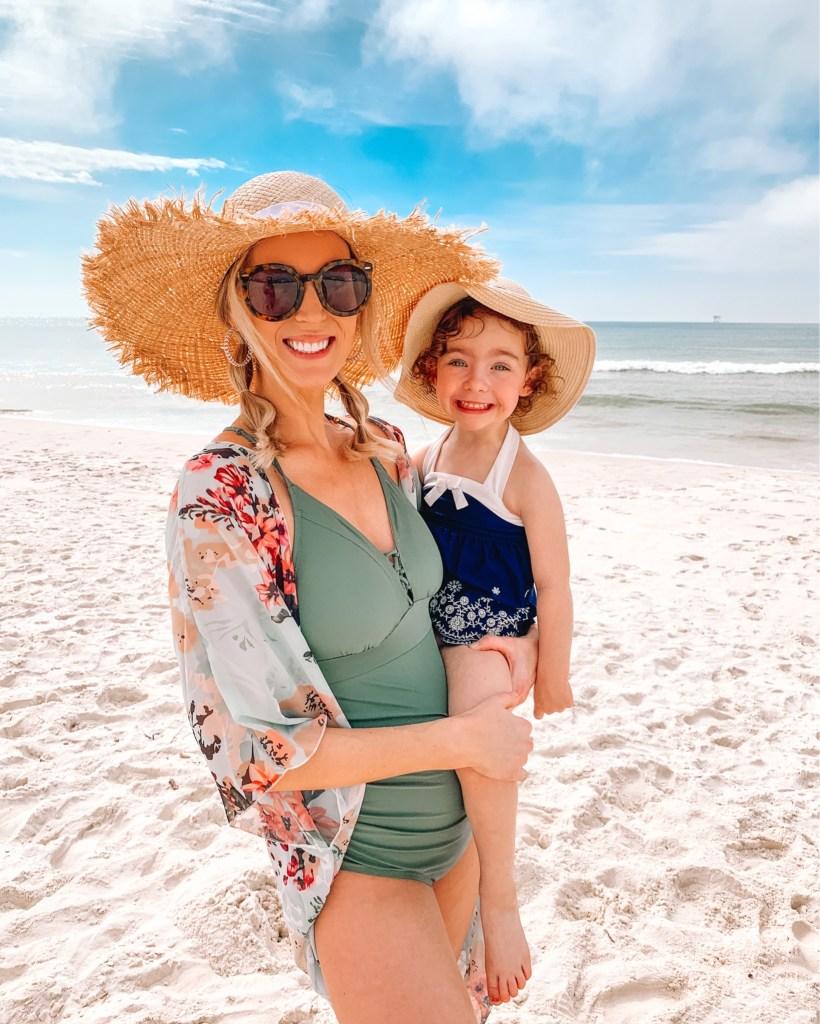 beach outfit roundup, maternity swimsuit, floral kimono, amazon kimono, swimsuit coverup