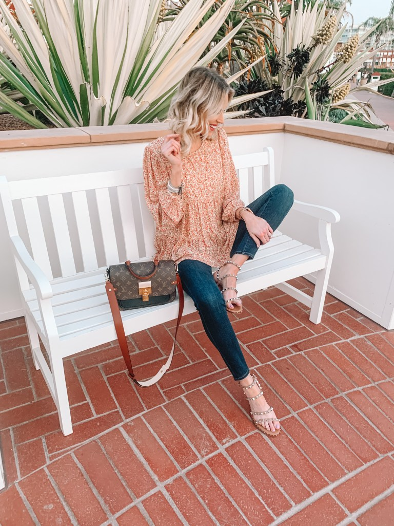 instagram round up from @straightastyle, boho top, flowy top, studded sandals