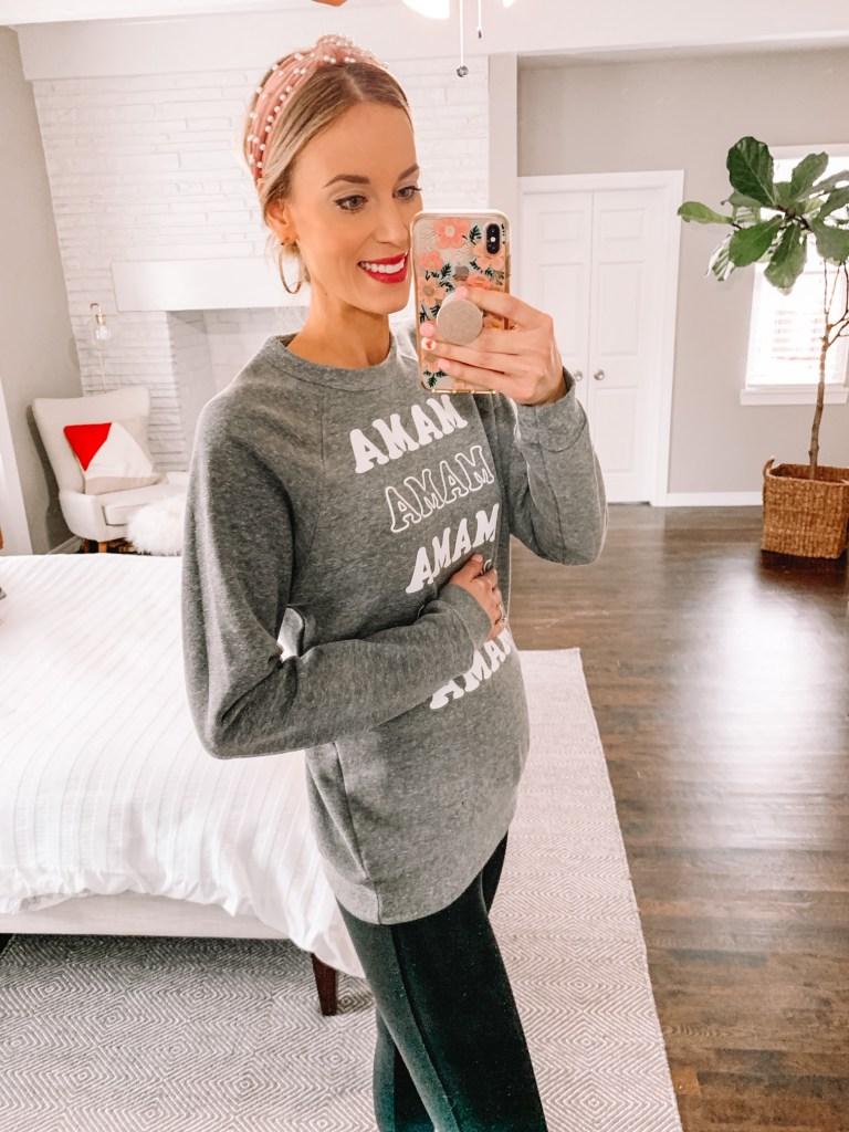 mama sweatshirt with baby bump, grey mama sweatshirt, maternity style