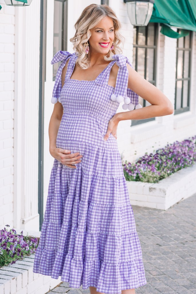 pom pom dress, tiered dress, gingham dress