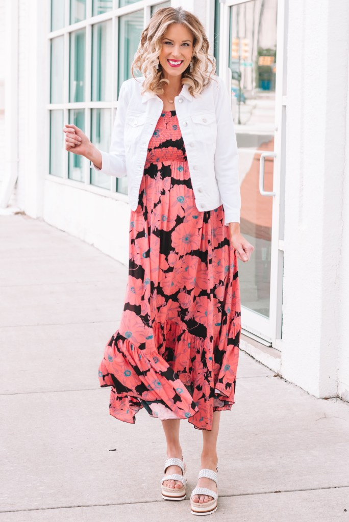 I am in LOVE with this gorgeous floral maxi dress. It's super comfy and adorable with my white jean jacket. I'm also sharing some spring earrings trends on this post. Click to shop it all!