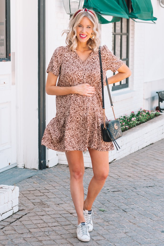 adorable leopard dress with Gucci dupe headband