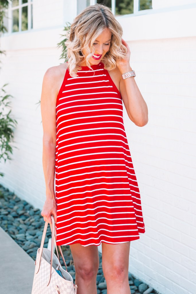 I love the neckline on this adorable and affordable red and white dress!