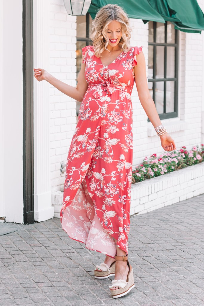 I love this floral maternity wrap dress! It is super flattering with such a fun print.