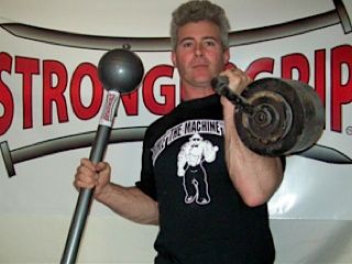 One of my first homemade kettlebells and a StrongerGrip Loadable Mace