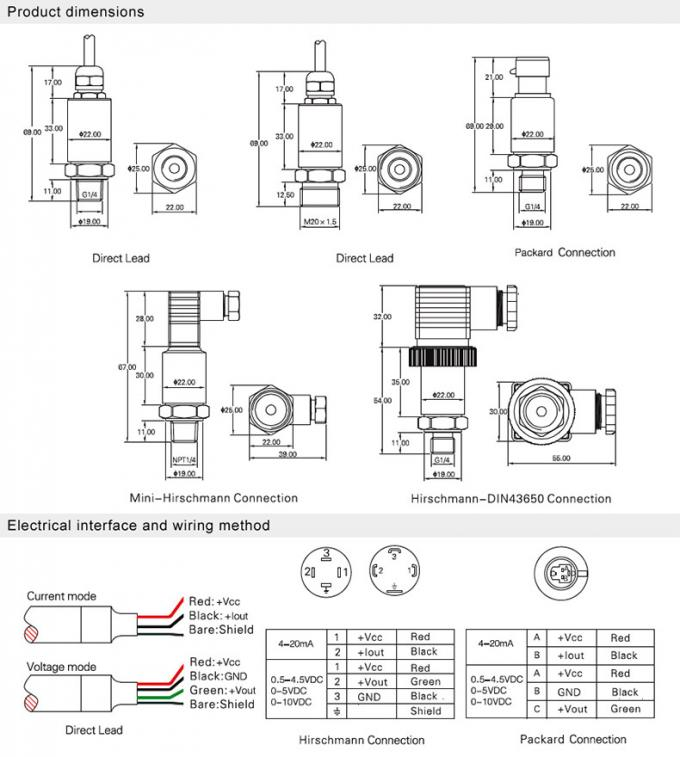 High Accuracy Stainless Steel Pressure Sensor For Oil Fuel
