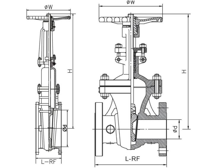 DIN standard PN25 flange ends cast steel manual rising