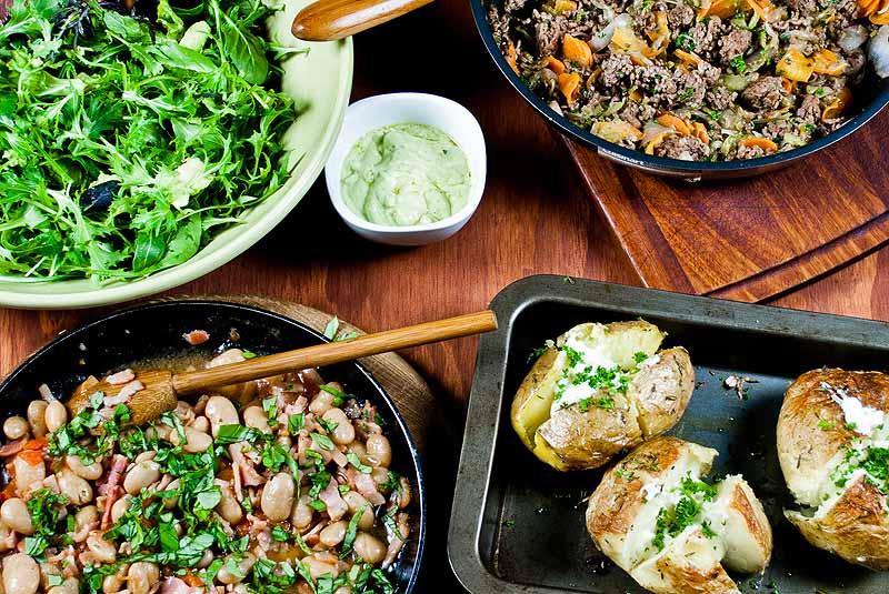Beef Hash and Jacket Potatoes
