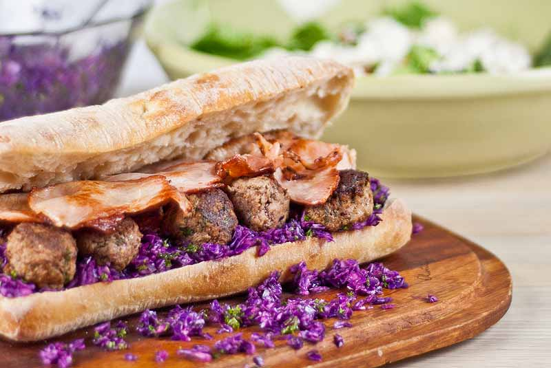 Jamie Oliver 30-minute Meatball Sandwich and Pickled Cabbage