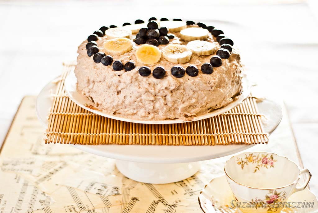 Banana Mousse Cake - grain, nut, dairy and refined sugar-free