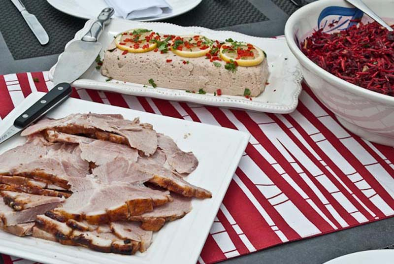 Ham, tuna mousse and beetroot salad