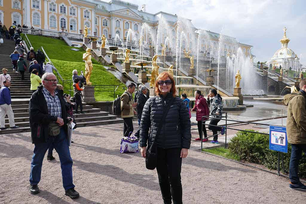 Suzanne at the Peterhof Palace outside St Petersburg