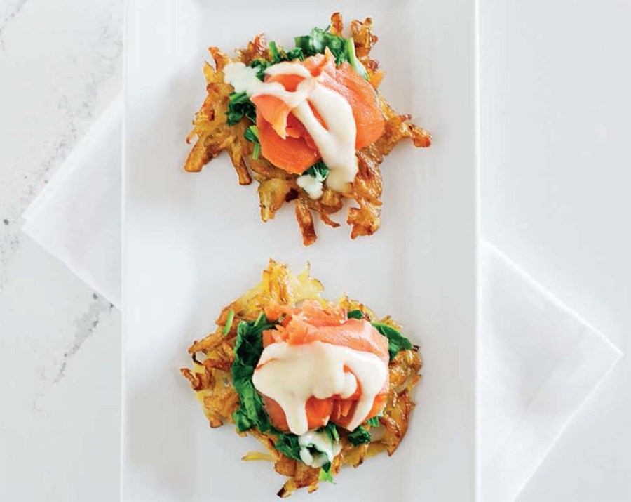 Salmon and spinach stack