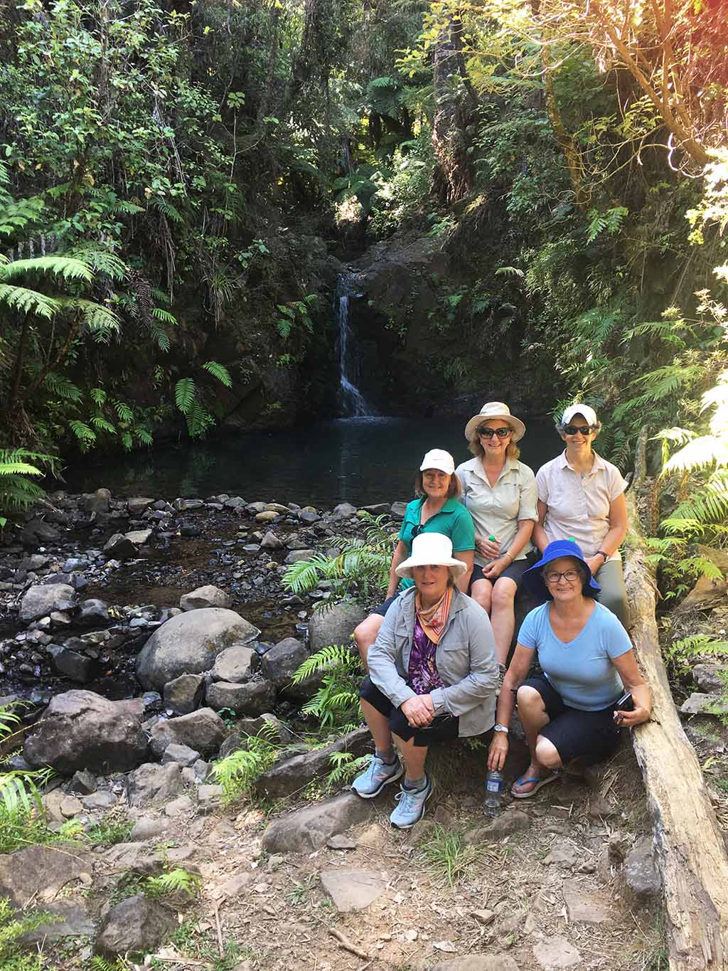 Resting by a waterfall on Great Barrier Island