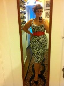 Deadly Dames Vamp Dress in Zebra Print