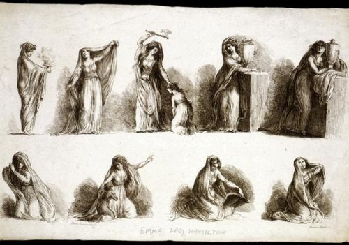 """Novelli's drypoint sketches of Lady Emma Hamilton's """"attitudes"""""""