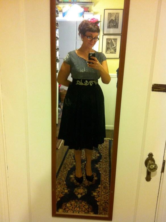 Vintage blue lurex and black taffeta cocktail dress