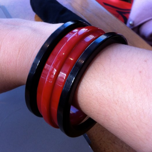 Black, red, and black Bakelite bangles!