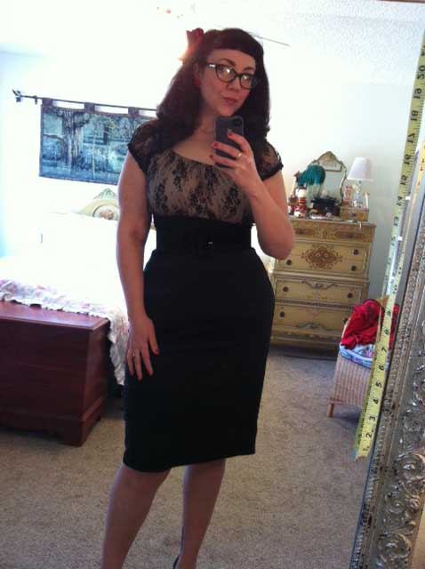 Black lace Mode Merr peasant top with Mode Merr perfect pencil skirt