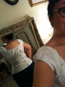 White peasant top by Pinup Couture: back