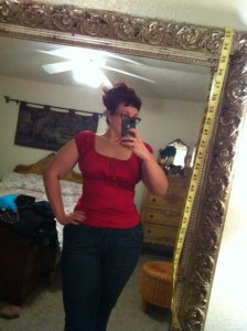 Red peasant top by Pinup Couture