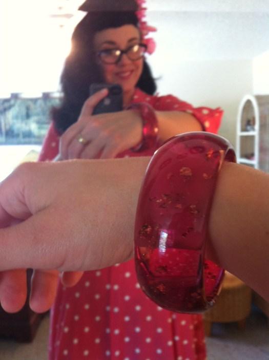 Pink vintage dress and confetti lucite bracelet