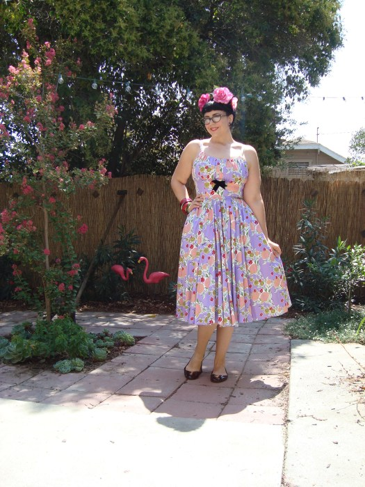 Ella dress in Mary Blair lips and roses print