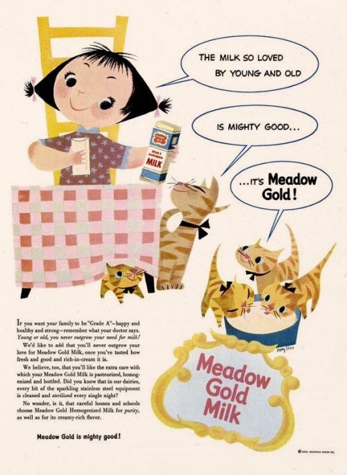 Meadow Gold Milk ad by Mary Blair