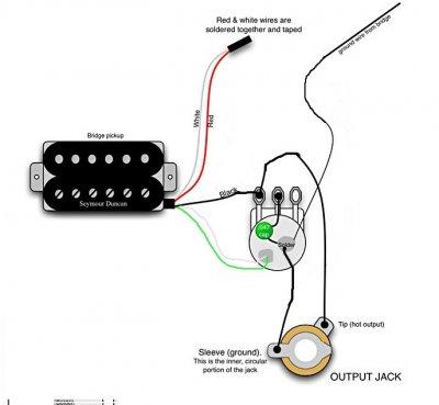 Single Pickup Electric Guitar Wiring Diagram