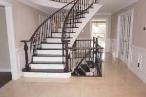 hardwood, hardwood flooring, stairs, staircase, staircase refinishing, railing, stairs and railing, laminate, laminate flooring, laminate install, laminate installation, toronto, vaughan, mississauga, brampton, floor installation, laminate installation toronto, laminate installation vaughan, laminate installation newmarket, laminate installation aurora, laminate flooring toronto, laminate flooring aurora, laminate flooring king, laminate flooring brampton, laminate flooring mississauga, laminate flooring store, how to install laminate flooring, Staircase Refinishing in Aurora, Ontario. Tile installation.