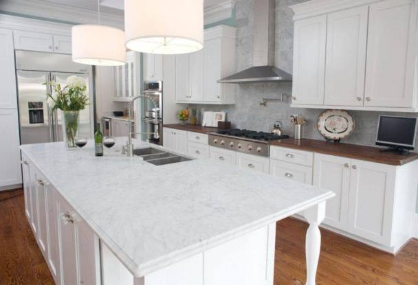 White Cabinets and Granite Overhang